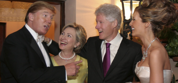Hillary Clinton with Donald Trump at his wedding