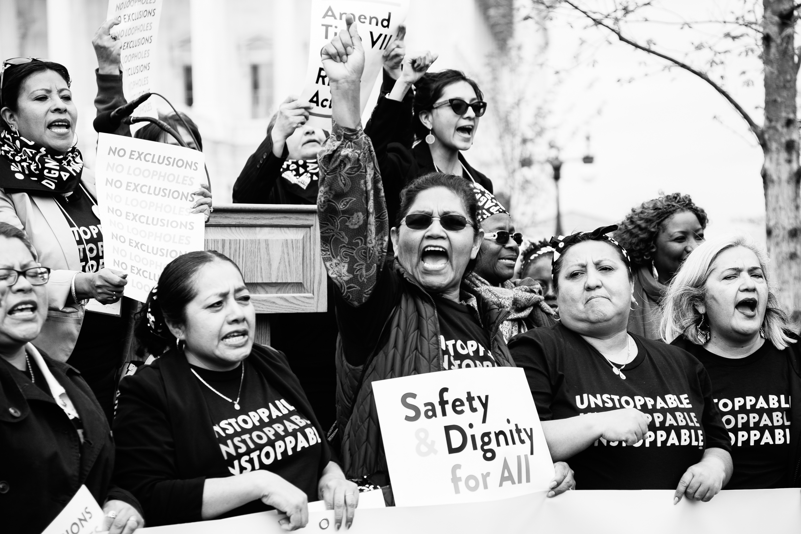Domestic workers at a rally