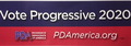 Bumper sticker: Vote Progressive 2020