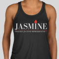 Jasmine for 100 Black Racerback Tank